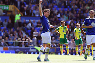 Leighton Baines of Everton celebrates after scoring his teams 2nd goal from the penalty spot. Barclays Premier League match, Everton v Norwich City at Goodison Park in Liverpool on Sunday 15th May 2016.<br /> pic by Chris Stading, Andrew Orchard sports photography.