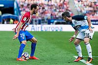 """Atletico de Madrid's player Juanfran Torres and Deportivo de la Coruña's player Luis """"Luisinho"""" Carlos Correia during a match of La Liga Santander at Vicente Calderon Stadium in Madrid. September 25, Spain. 2016. (ALTERPHOTOS/BorjaB.Hojas)"""