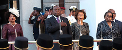 Cape Town. 160218.  Newly elected President of the Republic of South Africa Cyril Ramaphosa with his wife Tshepo by his side and flanked by Speaker Baleka Mbete and Thandi Modise take the sulute during a SADF flypast at this year's State of the Nation address.  Picture:Ian Landsberg/ANA
