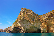 Sedimentary Rock formations of the cliffs of Paleokastritsa Corfu, Greek Ionian Islands .<br /> <br /> If you prefer to buy from our ALAMY PHOTO LIBRARY  Collection visit : https://www.alamy.com/portfolio/paul-williams-funkystock/corfugreece.html <br /> <br /> Visit our GREECE PHOTO COLLECTIONS for more photos to download or buy as wall art prints https://funkystock.photoshelter.com/gallery-collection/Pictures-Images-of-Greece-Photos-of-Greek-Historic-Landmark-Sites/C0000w6e8OkknEb8
