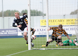 Falkirk's Mark Beck cele scoring their third goal.<br /> Falkirk 3 v 1 Alloa Athletic, Scottish Championship game played today at The Falkirk Stadium.<br /> © Michael Schofield.