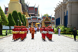 A handout photo made available by the Committee on Public Relations for the Coronation of King Rama X, shows Thai royal guards with traditional drums marching during the transfer of the Royal Golden Plaque of the official title of the King, the Royal Golden Plaque of King's horoscope, and the Royal Seal of State from the temple of the Emerald Buddha to Baisal Daksin Throne Hall, as part of the King's coronation ceremony, inside the Royal palace in Bangkok, Thailand, 03 May 2019. The three-day ancient elaborate traditional coronation ceremony of Thai King Maha Vajiralongkorn Bodindradebayavarangkun, also known as King Rama X, is scheduled for 04 to 06 May 2019. The coronation is a formal ceremony to complete the monarch's accession to the throne. Editorial use only. Photo by Committee On Public Relations Fo Handout/ABACAPRESS.COM