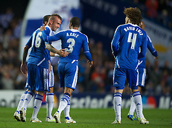 LONDON, ENGLAND - Wednesday, October 19, 2011: Chelsea's Raul Meireles is congratulated by team-mate Ashley Cole after scoring his side's first goal during the UEFA Champions League Group E match at Stamford Bridge. (Photo by Chris Brunskill/Propaganda)