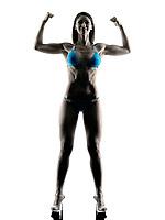 one caucasian woman  fitness body building bikini in studio in silhouette isolated