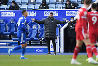 Football - 2020 / 2021 Premier League - Leicester City vs Liverpool - King Power Stadium<br /> <br /> Liverpool manager Jurgen Klopp gestures from the technical area.<br /> <br /> COLORSPORT/ASHLEY WESTERN