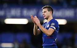 Chelsea's Cesar Azpilicueta applauds the fans at the end of the Premier League match at Stamford Bridge, London.