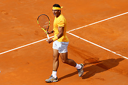 May 20, 2018 - Rome, Italy - Rafael Nadal of Spain plays a backhand shot during the Mens Singles final match between Rafael Nadal and Alexander Zverev on Day Eight of the The Internazionali BNL d'Italia 2018 at Foro Italico on May 20, 2018 in Rome, Italy. (Credit Image: © Matteo Ciambelli/NurPhoto via ZUMA Press)