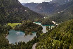 Luftaufnahme vmn Samarangersee und Fernsteinsee, Fernpass, Nassereith, Tirol, Oesterreich / Aerial View of Samarangersee and Fernsteinsee, Fernpass, Nassereith, Tyrol, Austria