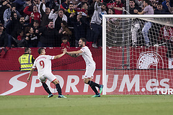 May 9, 2018 - Seville, Spain - MIGUEL LAYUN of Sevilla (R ) celebrates after scoring 2-0 during the La Liga soccer match between Sevilla FC and Real Madrid at Sanchez Pizjuan Stadium (Credit Image: © Daniel Gonzalez Acuna via ZUMA Wire)