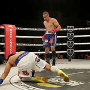 FORT LAUDERDALE, FL - FEBRUARY 15: Dat Nguyen gets knocked down by Abdiel Velazquez during the Bare Knuckle Fighting Championships at Greater Fort Lauderdale Convention Center on February 15, 2020 in Fort Lauderdale, Florida. (Photo by Alex Menendez/Getty Images) *** Local Caption *** Dat Nguyen; Abdiel Velazquez