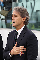 June 4, 2018 - Turin, Piedmont, Italy - Roberto Mancini, head coach of Italian National Team,  sings the Italian national anthem before the friendly football match between Italy and Holland at Allianz Stadium on June 04, 2018 in Turin, Italy. Final result: 1-1  (Credit Image: © Massimiliano Ferraro/NurPhoto via ZUMA Press)