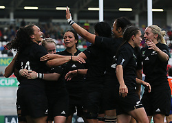 New Zealand's Portia Woodman (left) celebrates scoring a try during the 2017 Women's World Cup, Semi Final match at the Kingspan Stadium, Belfast