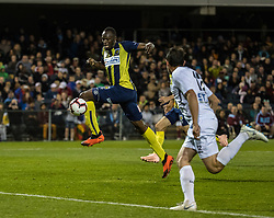 CAMPBELLTOWN, Oct. 12, 2018  Jamaican Olympic gold medalist Usain Bolt (L) of Central Coast Mariners breaks through during a charity football game between Central Coast Mariners and Macarthur South West United in Campbelltown, Australia, Oct. 12, 2018. Usain Bolt scored his first goals in professional football games on Friday. (Credit Image: © Zhu Hongye/Xinhua via ZUMA Wire)