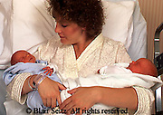 Medical, Maternity Hospital Care, Mother and Twin Babies,