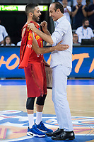 Spain's Juan Antonio San Epifanio and Juan Carlos Navarro during receive the congratulations for the player with more games with the national team friendly match for the preparation for Eurobasket 2017 between Spain and Venezuela at Madrid Arena in Madrid, Spain August 15, 2017. (ALTERPHOTOS/Borja B.Hojas)