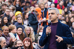 """City Hall, London, March 5th 2017. Stars join March4Women through London. Mayor of London Sadiq Khan and suffragette descendents prepare to march and """"sing for a fairer world ahead of International Women's Day"""". Attended by Annie Lennox, Emeli Sande, Helen Pankhurst, Bianca Jagger and with musical performances from Emeli Sande, Melanie C and more. PICTURED: Mayor of London Sadiq Khan"""