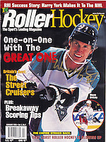 February 1998:   Roller Hockey Magazine cover with #99 Wayne Gretzky autographed in Gold writing.