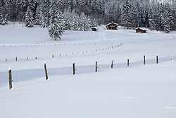 Wooden posts on snowcapped landscape with trees and houses in background