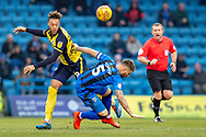 Scunthorpe United forward Kyle Wootton (29) and Gillingham FC defender Max Ehmer (5)  during the EFL Sky Bet League 1 match between Gillingham and Scunthorpe United at the MEMS Priestfield Stadium, Gillingham, England on 16 February 2019.
