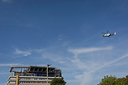 An Agusta-Westland AW-169 helicopter (G-KSSC) of the Kent Air Ambulance approaches the helipad of Kings College Hospital in Camberwell, on 23rd August 2019, in Camberwell, south London, England.