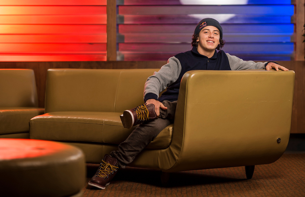 Mark McMorris poses for a portrait at at the RedBull Performance Camp in Aspen Colorado, United States on April 14th, 2013