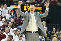 Missouri head coach Kim Anderson argues a call during the second half of an NCAA college basketball game against Texas A&M, Saturday, Jan. 23, 2016, in College Station, Texas.  Texas A&M won 66-53.  (AP Photo/Sam Craft)