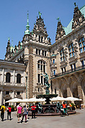 Rathaus / town hall exterior and fountains, historic architecture, Hamburg, Germany.