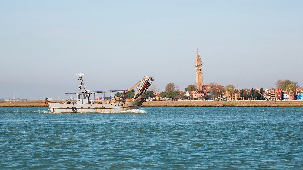 VENICE, ITALY - APRIL 2018. <br /> A fishing boat sails in front of the island of Burano during a fishing tour of the moeche in the northern lagoon of Venice.<br /> Moeca is the name that the Venetians give to the crab that is in the moulting phase (spring and autumn), when it loses its shell and becomes very tender and almost soft. Fried moeche is a typical delicacy of Venetian cuisine.