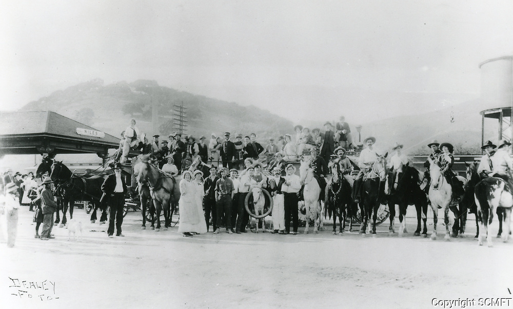1912 Essanay Film Co. on location at a train station in Niles, CA