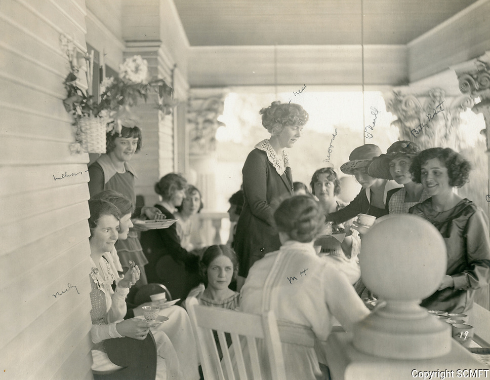 1923 Sunday tea on the porch of the Hollywood Studio Club on Carlos Ave.