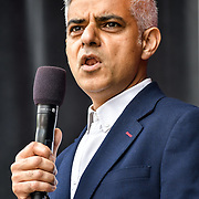 Speaker Mayor of London, Sadiq Khan at the Eid festival in Trafalgar Square London to mark the end of Ramadan on 8 June 2019, London, UK.