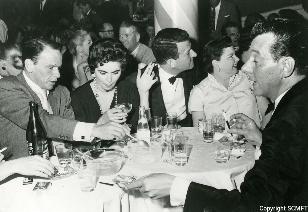 1955 Frank Sinatra, Peggy Connelly, Roger Edens, Judy Garland & Don Loper at the Mocambo Nightclub in West Hollywood