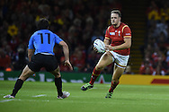 Cory Allen of Wales runs at Rodrigo Silva of Uruguay. Rugby World Cup 2015 pool A match, Wales v Uruguay at the Millennium Stadium in Cardiff, South Wales  on Sunday 20th September 2015.<br /> pic by  Andrew Orchard, Andrew Orchard sports photography.