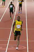 Mcc0055084 . Daily Telegraph<br /> <br /> Usain Bolt  takes Jamaica to the front in Heat 2 of the 4x100m Relay on Day 9 of the 2014 Commonwealth Games .<br /> <br /> <br /> Glasgow 1 August 2014