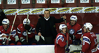 Icehockey. Qualification Olympic Games. Norway-Germany 8 january 2001. Norge-Tyskland, Jordal Amfi. Trener Arne Borch, Norge.