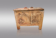 Minoan  pottery larnax coffin chest with fstylised floral decorations,  Episkopi-Lerapetra 1350-1250 BC, Heraklion Archaeological  Museum, grey background. .<br /> <br /> If you prefer to buy from our ALAMY PHOTO LIBRARY  Collection visit : https://www.alamy.com/portfolio/paul-williams-funkystock/minoan-art-artefacts.html . Type -   Heraklion   - into the LOWER SEARCH WITHIN GALLERY box. Refine search by adding background colour, place, museum etc<br /> <br /> Visit our MINOAN ART PHOTO COLLECTIONS for more photos to download  as wall art prints https://funkystock.photoshelter.com/gallery-collection/Ancient-Minoans-Art-Artefacts-Antiquities-Historic-Places-Pictures-Images-of/C0000ricT2SU_M9w