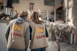 29 February 2020, Jerusalem: Two participants in the Ecumenical Accompaniment Programme in Palestine and Israel document how a home in the Shu'fat village in Jerusalem has just been demolished. As building permits are notoriously difficult, in some cases impossible, for Palestinians to obtain, demolition of houses stated not to have the relevant permits is common in the area. This time, the family lost their living room, two bathrooms, and kitchen.