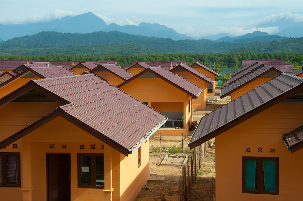 New homes built by Church World Service for tsunami survivors who lost everything. Indonesia, Sumatra, Aceh.