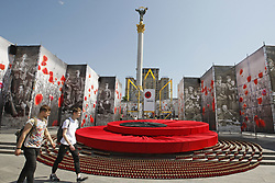 May 6, 2017 - Kiev, Ukraine - People walk on the Independence Square decorated to the Victory Day celebration in center of Kiev, Ukraine, on 06 May 2017. People of former USSR countries will celebrate the 72st anniversary of the victory over Nazi Germany in World War II on 09 May 2017. (Credit Image: © Serg Glovny via ZUMA Wire)