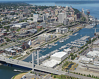 Aerial view of downtown Tacoma along the Thea Foss Waterway.