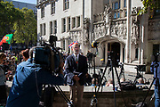 Television and media outside The Supreme Court as the first day of the hearing to rule on the legality of suspending or proroguing Parliament begins on September 17th 2019 in London, United Kingdom. The ruling will be made by 11 judges in the coming days to determine if the action of Prime Minister Boris Johnson to suspend parliament and his advice to do so given to the Queen was unlawful. (photo by Mike Kemp/In Pictures via Getty Images)