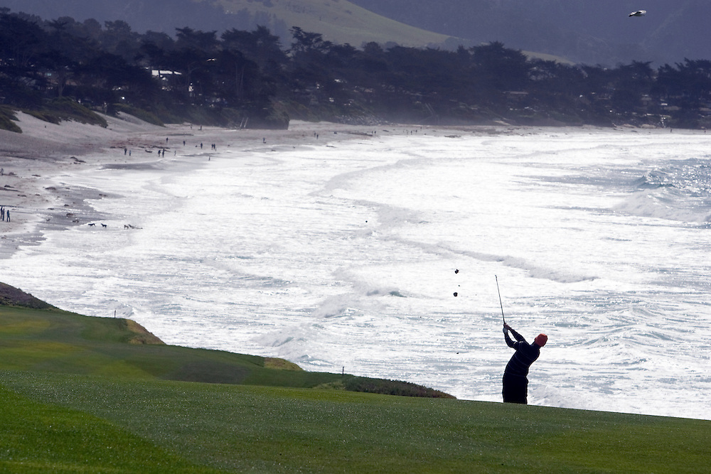 Alex Cejka hits along the 9th fairway at Pebble Beach Golf Links during the 2009 AT&T Pebble Beach Pro Am