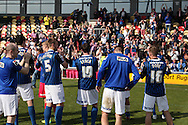 Rochdale players and supporters applaud each other at the end of the match. Skybet football league two match, Newport county v Rochdale at Rodney Parade in Newport, South Wales on Saturday 3rd May 2014.<br /> pic by Mark Hawkins, Andrew Orchard sports photography.