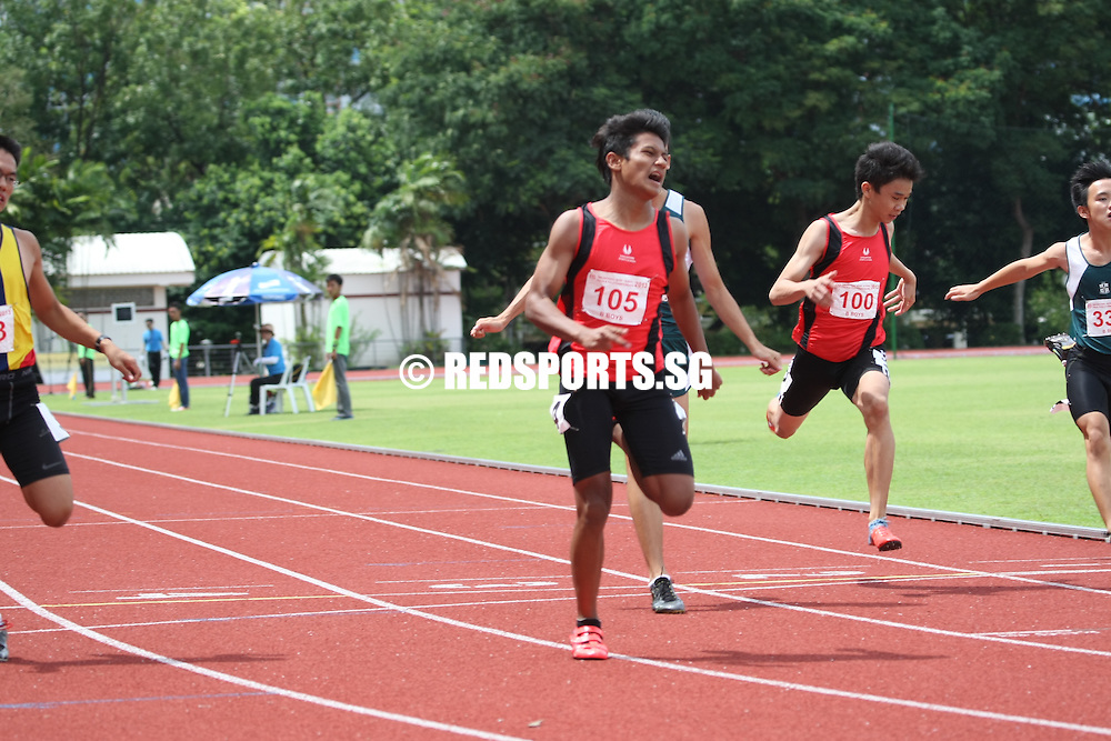 Choa Chu Kang Sports Complex, Wednesday, April 17, 2013 — Muhammad Syazani Bin Abdul Wahid of Singapore Sports School edged out Timothy Ong of Anglo-Chinese School (Independent) by 0.1s to win the B Division 100m final in 11.18 seconds at the 54th National Schools Track and Field Championships.<br /> <br /> Story: http://www.redsports.sg/2013/04/21/b-div-boys-100m-singapore-sports-school-syazani/