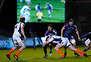 Sale Sharks wing Denny Solomona runs into Edinburgh Rugby prop Simon Berghan during the European Champions Cup match Sale Sharks -V- Edinburgh Rugby at The AJ Bell Stadium, Greater Manchester,England United Kingdom, Saturday, December 19, 2020. (Steve Flynn/Image of Sport)