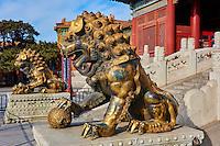Chine, Pékin (Beijing), Cité Interdite, classée Patrimoine Mondial de l'UNESCO, Lion de bronze // China, Beijing, Forbidden City, statue of Lion