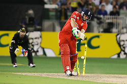 © Licensed to London News Pictures. 26/12/2013. James Tredwell gets bowled during the 2nd T20 international between Australia Vs England at the Melbourne Cricket Ground, Victoria, Australia. Photo credit : Asanka Brendon Ratnayake/LNP