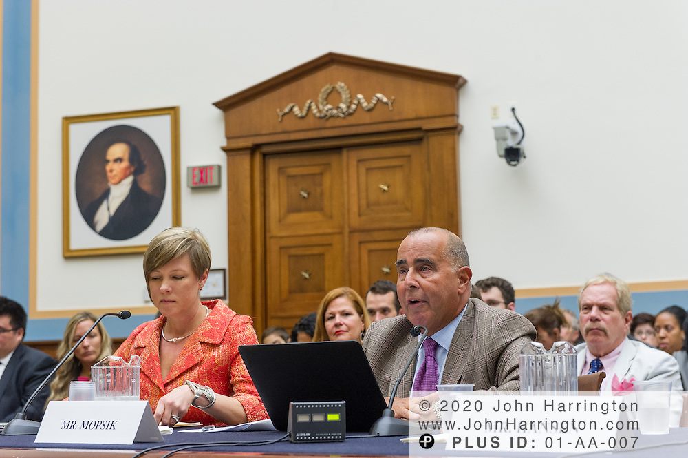 """Eugene Mopsik, Executive Director of the American Society of Media Photographers (right) delivers his testimony to the U.S. House of Representatives Committee on the Judiciary, Subcommittee on Courts, Intellectual Property and the Internet on the subject """"Innovation in America: The Role of Copyrights"""", Thursday July 25, 2013 on Capitol Hill in Washington DC."""