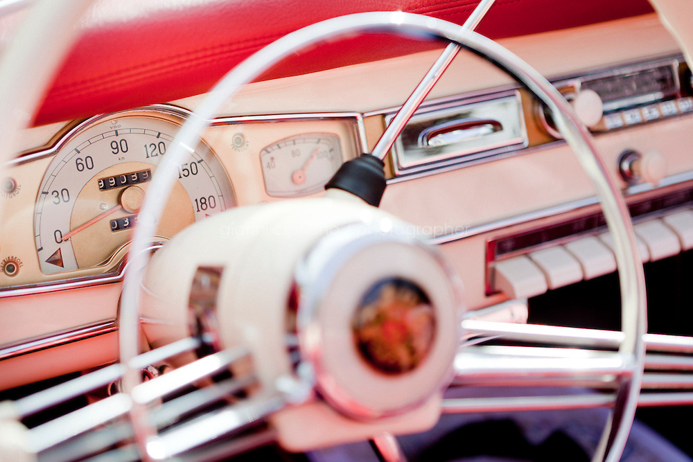 27 August 2010. Passo Fedaia, Trentino Alto Adige, Italy. A dashboard detail of a Borgward Isabella Coupé-Cabriolet of 1960 in Passo Fedaia. Passo Fedaia (2.057 m) is a high mountain pass in the Italian Alps formed of a 2,5km plateau in which the artificial Lake Fedaia is used for Hydropower. One hundred vintage cars participated at the ADAC Trentino Oldtimer-Wanderung.<br /> <br /> <br /> ©2010 Gianni Cipriano<br /> cell. +1 646 465 2168 (USA)<br /> cell. +39 328 567 7923<br /> gianni@giannicipriano.com<br /> www.giannicipriano.com