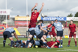 September 30, 2017 - Limerick, Ireland - Thomos Williams of Cardiff kicks the ball during the Guinness PRO14 Conference A Round 5 match between Munster Rugby and Cardiff Blues at Thomond Park in Limerick, Ireland on September 30, 2017  (Credit Image: © Andrew Surma/NurPhoto via ZUMA Press)
